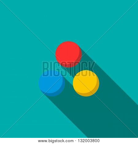 Paintball balls icon in flat style with long shadow
