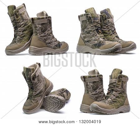 New pair of army boots on a white background.Collage
