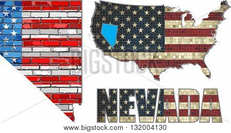 USA state of Nevada on a brick wall - Illustration, The flag of the state of Nevada on brick textured background,  Nevada Flag painted on brick wall, Font with the United States flag,  Nevada map on a brick wall