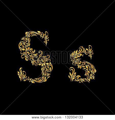 Richly decorated letter 's' in upper and lower case.