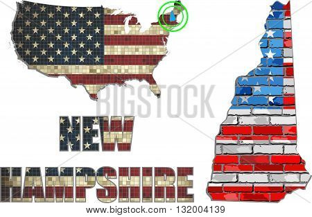 USA state of New Hampshire on a brick wall - Illustration, The flag of the state of New Hampshire on brick textured background,  New Hampshire Flag painted on brick wall, Font with the United States flag,  New Hampshire map on a brick wall