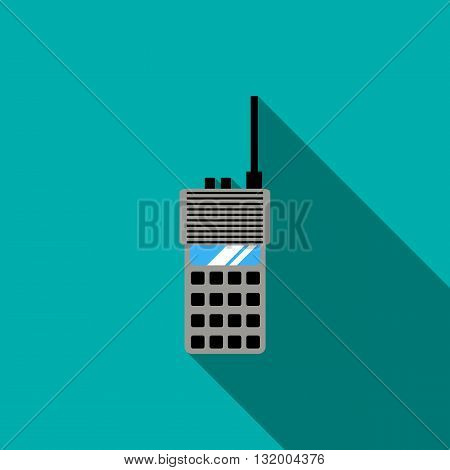 Portable radio transceiver icon in flat style with long shadow