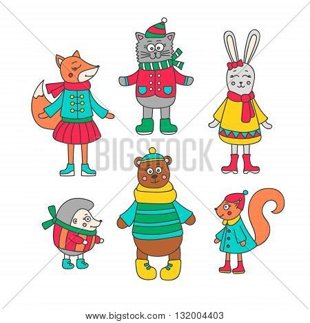 Winter animals set. Hand drawn doodle fox cat rabbit hedgehog bear and squirrel. Vector christmas set. Isolated.