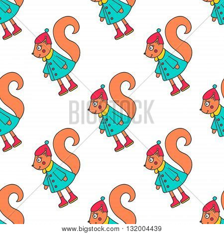 Winter squirrel girl. Pattern with hand drawn doodle squirrel in winter clothes. Cute squirrel for kids design. Vector. Isolated.