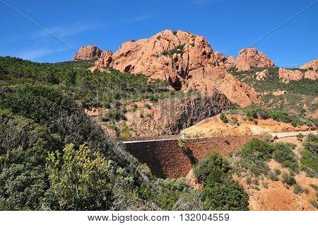 Saint Raphael France - april 14 2016 : the Esterel Massif