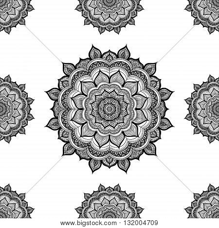 Doodle mandala. Vector seamless pattern with hand drawn doodle mandala. Indian tribal ornament. Black and white colors.