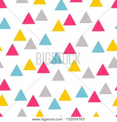Triangles. Seamless abstract pattern with color triangles. Yellow pink grey colors. Geometric background.