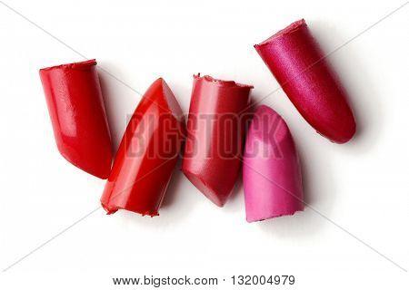 lipsticks isolated on white