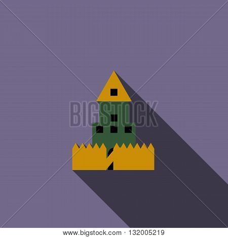 Paintball wall icon in flat style with long shadow