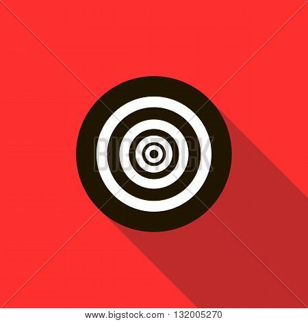 Paintball target icon in flat style with long shadow