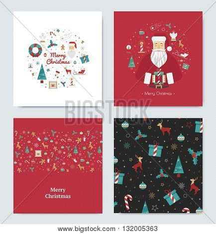 Set of colored cards for the Christmas holidays. Fun designs for the new year 2015. Icons for decorations reindeer tree gifts print.