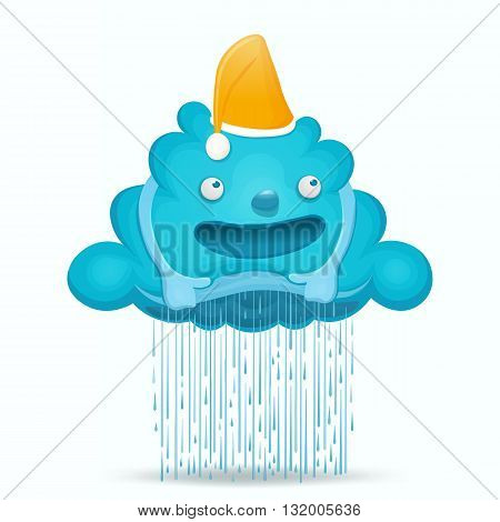 Cartoon cute cloud character with rain drops. Vector illustration.