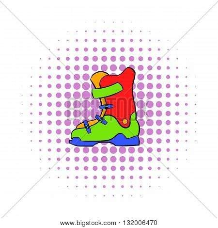 Boot for snowboarding icon in comics style on dotted background. Winter and sport symbol