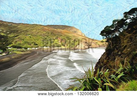 View of Piha beach from top of lion's rock in New Zealand