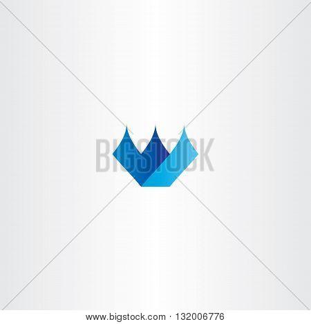 Blue Icon W Letter W Logo Vector Design
