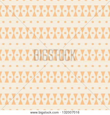 Abstract seamless pattern orange color. Thin horizontal stripes with hourglass shapes and small ovals. Cute simple print. Vector illustration for fabric, paper and other