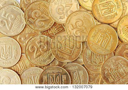 Many Golden Ukraininan Coins As Money Background Top View