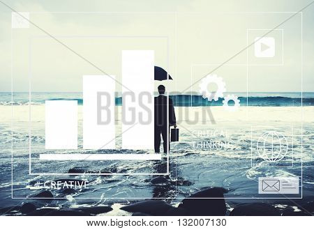 Lonely Businessman Alone in the Beach Concept