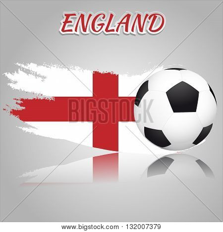 Flag of England with the soccer ball. National flag in vintage style. Brush as a national flag.