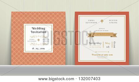Art Deco Wedding Invitation Card in Gold and Orange on wood background