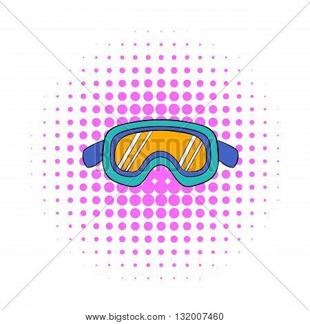 Ski goggles icon in comics style on dotted background. Winter sport symbol