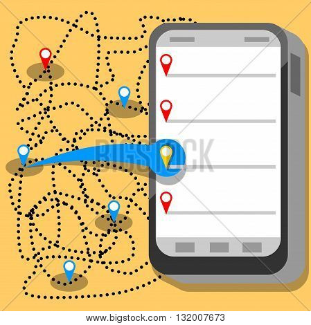 phone communication map points app flat development