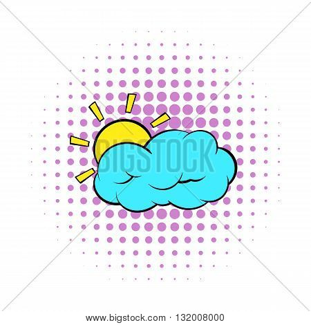 Sun and cloud icon in comics style on dotted background. Weather and nature symbol