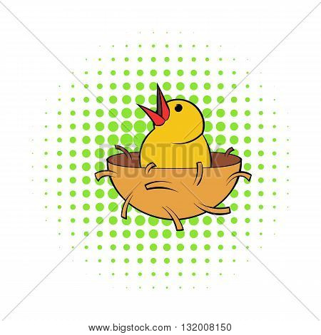 Chick in nest icon in comics style on dotted background. Spring and bird symbol