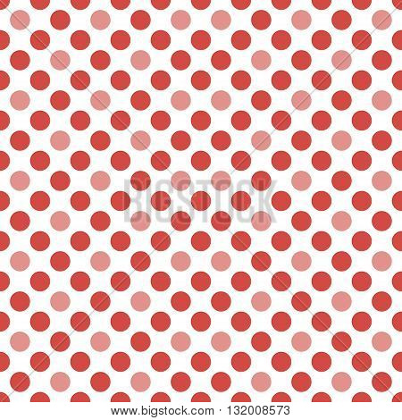 Abstract seamless pattern of circles in white and red colors. Endless dots print. Perforated contrasting background. Vector illustration for various creative projects