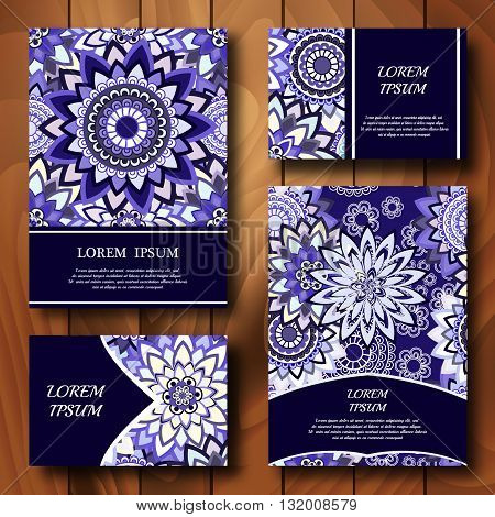 Vector templates set. Business cards banners fliers or invitations with mandala ornaments. Islam Arfbic Indian Turkish Ottoman Pakistan mitifs. Design template.
