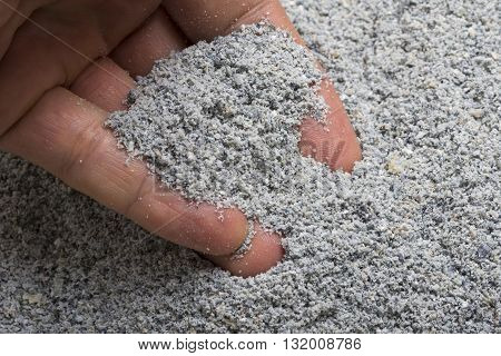 Closeup hand scooping pile of fresh ground blue corn meal