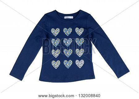 Blue jacket with long sleeves with a heart pattern. Isolate on white.