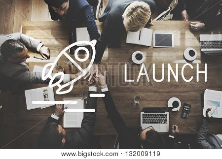 Launch Start up Business Success Release Concept