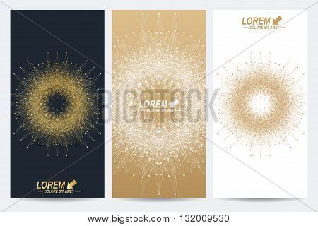 Modern set of vector flyers. Molecule and communication background. Geometric abstract round golden forms. Connected line with dots. Graphic composition for medicine, science, technology, chemistry.