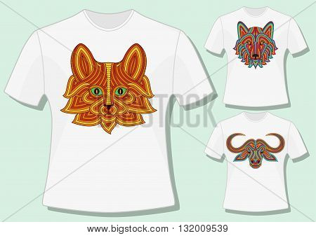 Creative stylized animal heads in ethnic linear style. T-shirt design. Vector illustration