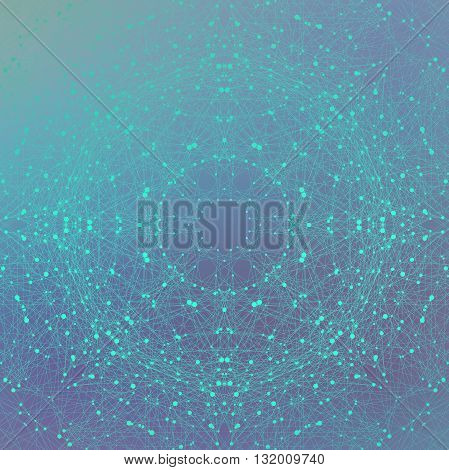Graphic background molecule and communication. Connection line with dots. Geometric abstract composition for your design. Science, technology background. Vector illustration