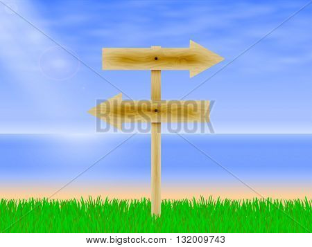 Vector illustration of wooden arrows directing the way to the beach background with green grass. Wooden board with a direction. Wooden signpost.