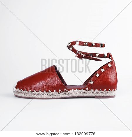 Brown Female summer shoes in white background