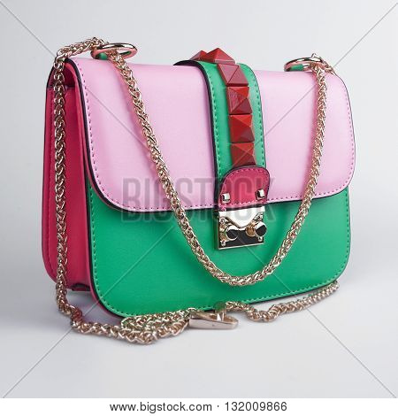 bright summer female bag on a white background