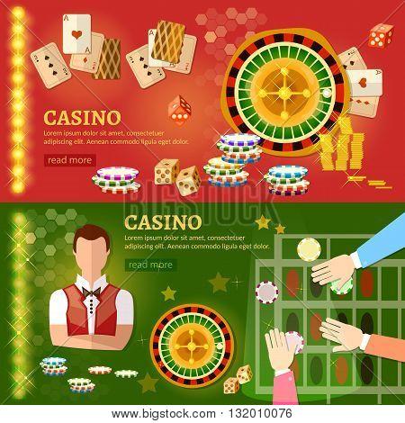 Casino banner poker game playing roulette vector illustration