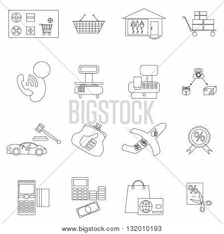 Shopping icons set in thin line style isolated on white background