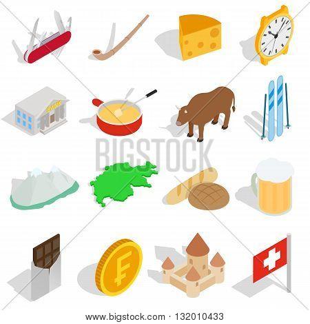 Switzerland icons set in isometric 3d style isolated on white background