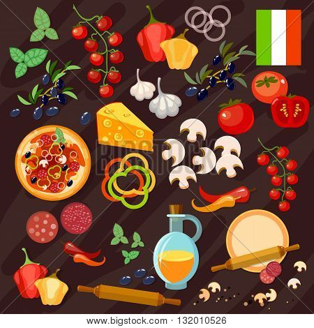 Pizza ingredients italian pizza collection vector set