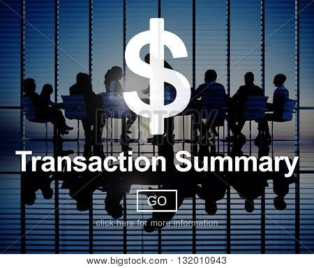Transaction Summary Accounting Financial Taxation Concept