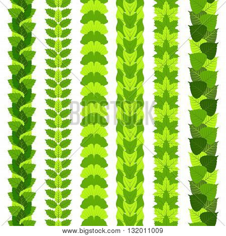 Set of stylized foliate borders made of different tree leaves, such as ginkgo, tulip tree, ash, birch, maple and poplar.  Vector illustration.