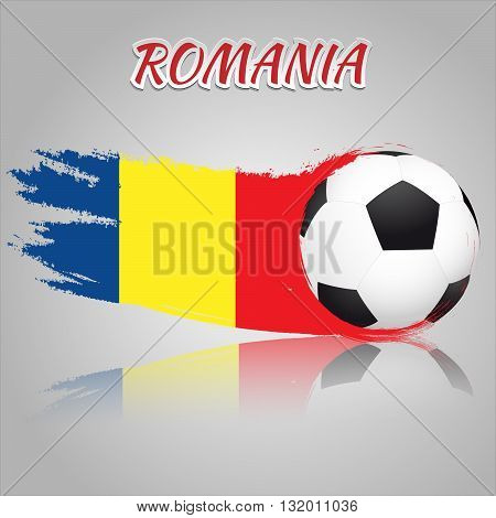 Flag of Romania with the soccer ball. National flag in vintage style. Brush as a national flag.