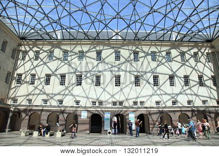 AMSTERDAM, NETHERLANDS - MAY 6, 2016: Tourists in National Maritime Museum in Amsterdam, Netherlands