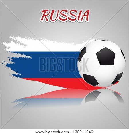 Flag of Russia with the soccer ball. National flag in vintage style. Brush as a national flag.