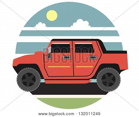 Powerful red vehicle rides across the plains in the daytime