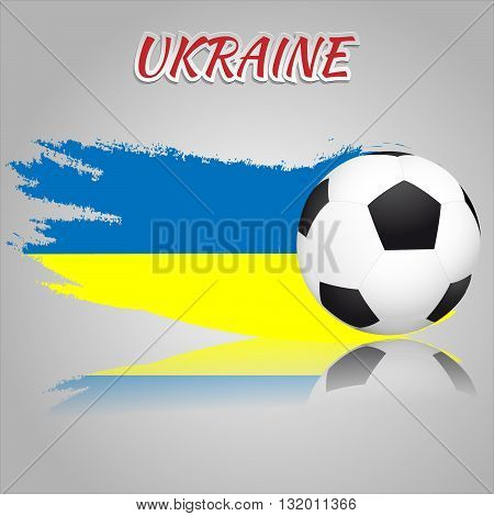 Flag of Ukraine with the soccer ball. National flag in vintage style. Brush as a national flag.